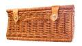 Wicker picnic basket iv handmade over white background Stock Photo