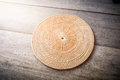 Wicker placemat on wooden background Royalty Free Stock Image
