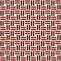 Wicker seamless pattern. Basket weave motif. Red colors geometric abstract background with overlapping stripes. Royalty Free Stock Photo