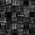 Wicker texture, rustic stamp style seamless vector pattern, black and white