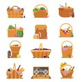 Wicker Picnic Baskets and Hampers Icons Royalty Free Stock Photo