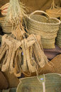 Wickerwork assorted items of on a market stall Stock Photography