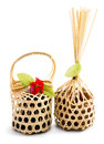 Wickerwork bamboo packaging in white background Royalty Free Stock Photography