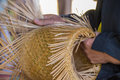 Wickerwork or basketry handmade by local thai people Royalty Free Stock Photo