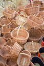 Wickerwork baskets full frame take of a heap of at a traditional street market stall Royalty Free Stock Photos