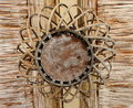 Wickerwork of straw round shape closeup Stock Photo