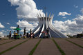 Wide angle cathedral brasilia brazil designed as two hands joined oscar niemeyer Royalty Free Stock Photo