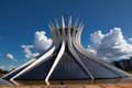 Wide angle cathedral brasilia brazil designed as two hands joined oscar niemeyer Royalty Free Stock Image