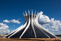 Wide angle cathedral brasilia brazil designed as two hands joined oscar niemeyer Stock Images