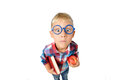 Wide angle close-up portrait of boy a student in shirt in glasses hugging book and apple in hands, looking at camera, isolated on Royalty Free Stock Photo