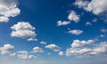 Wide angle cumulus sky puffy clouds shot with a lens lots of copy space and suitable for backgrounds Royalty Free Stock Photos