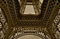 Wide angle of Eiffel tower in Paris Royalty Free Stock Photo