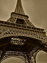 Wide angle of Eiffel tower in Paris Royalty Free Stock Photography