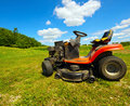 Wide angle mower on a farm. Royalty Free Stock Photos