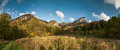 Wide angle panorama of autumnal mountain landscape Royalty Free Stock Photo