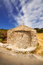 A wide angle shot of a small church on zakynthos island greece Royalty Free Stock Image