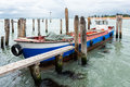 Wide angle shot of tied bout in venice italy Royalty Free Stock Image