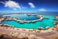 Wide angle shot of Vlychada port on Santorini island Royalty Free Stock Photo
