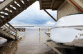 Wide angle view beach inclement winter day beneath lifeguard hut Royalty Free Stock Photography