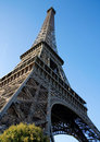 Wide angle view of the Eiffel Tower Stock Images
