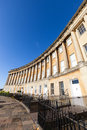 Wide angle view of the royal crescent in bath distorted somerset with a clear blue sky Royalty Free Stock Image