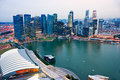 Wide angle view of singapore city skyline at sunset Stock Image