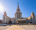 Wide angle view of spring sunny campus of Moscow University under blue sky Royalty Free Stock Photo