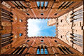 Wide angle view of Torre del Mangia, Siena, Italy Royalty Free Stock Photography