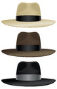 Wide brim fedora a brimmed in classic colors Stock Photos