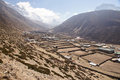 Wide dry farming village valley found along trek to everest base camp nepal Royalty Free Stock Photography