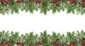 Wide festive pattern. Christmas tree, cones and red berries. Iso Royalty Free Stock Photo