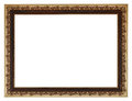 Wide golden gilted vintage wooden picture frame with cut out canvas isolated on white background Royalty Free Stock Images