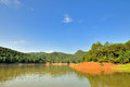 Wide landscape in taining jinhu lake area china mountain and locate fujian province south of Stock Image