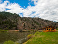 Wide mountain river cuts a valley clark fork montana usa Royalty Free Stock Photography