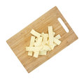 Wide old fashioned egg noodles on cutting board Royalty Free Stock Images