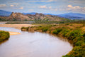Wide river and rock mountains Royalty Free Stock Photo