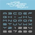Wide rounded outline sport techno font.