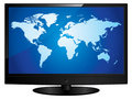 Wide screen television with world map Stock Photography