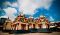 A wide shot of a hindu temple with cravings Royalty Free Stock Photo