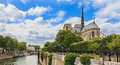Wide shot of Notre-Dame cathedral in Paris, France Royalty Free Stock Photo