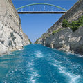 Wide view of corinth canal greece showing one its bridges and sparkling clear water Stock Image