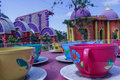 Wide view of cup and saucer funfair ride, Chennai, India. Jan 29 2017