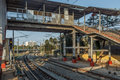Wide view of curve train tracks and foot over bridge, Chennai, Tamil nadu, India, Mar 29 2017 Royalty Free Stock Photo