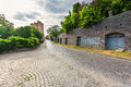 Wide view on street of old european city Royalty Free Stock Photo