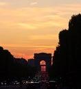 Widok paryż france l arc de triomphe przy zmierzchem Fotografia Stock