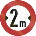 Width limit old design of a german sign prohibiting thoroughfare of vehicles with a over meters Stock Images