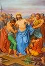 Wien jesus stripped av hans plagg en del av cossvägen från cent i gotiska kyrkliga maria f m gestade Royaltyfria Foton