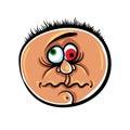 Wierd cartoon face absolute crazy numskull portrait vector illustration Stock Images
