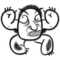 Wierd cartoon monster absolute crazy numskull portrait well t that is how i feel when you download it black and white lines vector Royalty Free Stock Image