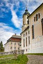 Wieskirche Pilgrimage Church with clody blue sky and green lawn in Bavaria Royalty Free Stock Photo